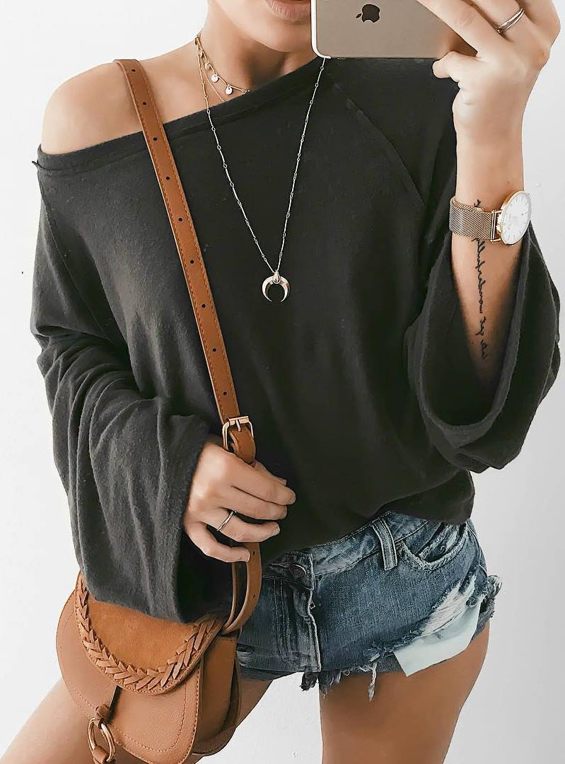 ootd | bag + black sweater + denim shorts