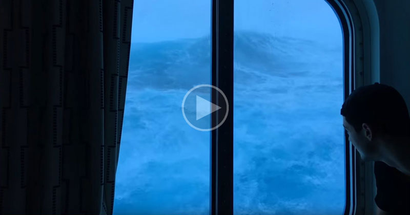 Cruise Ship Passenger Casually Watches Giant Waves Crash Against His 3rd Floor Room