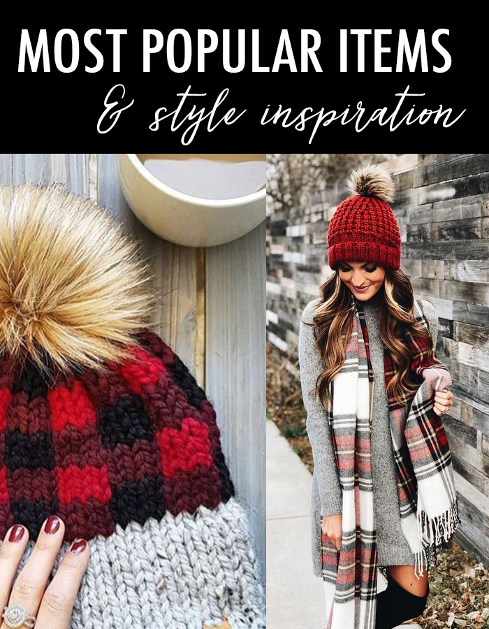 buffalo plaid hat grey dress plaid scarf