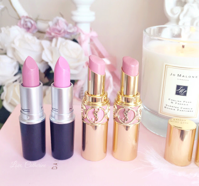 Favourite Five Pink Lipsticks | MAC Creme Cup, Saint Germain, Snob & YSL Lingerie Pink, Nude Beige
