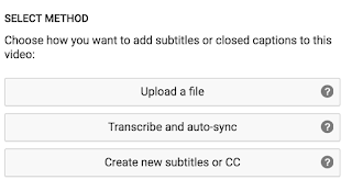Screenshot of the 3 Methods for Captioning in Youtube: Upload a file, Transcribe and auto-sync, and create new subtitles
