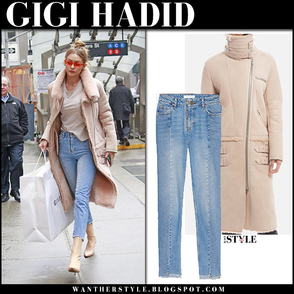Gigi Hadid in beige blush suede shearling coat kith iro and jeans sandro model street style january 11