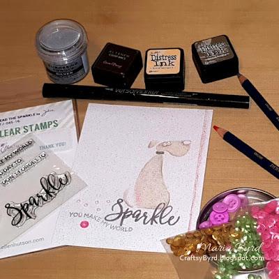 Inkadinkado Dog & Ellen Essentials Sparkle Card by Maria Byrd at CraftsyByrd.blogspot.com