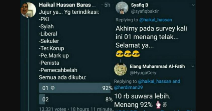 Wow... Petahana Menang Telak di Survey Twitter Babe Haikal Hassan