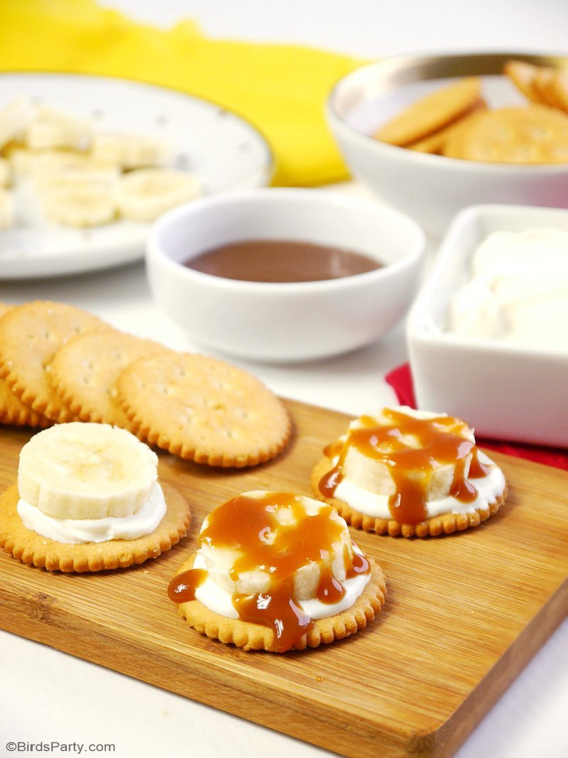 Four Delicious Party Appetizers To Make In Minutes - recipes for quick and easy cracker toppings to serve at your next party! by BirdsParty @BirdsParty