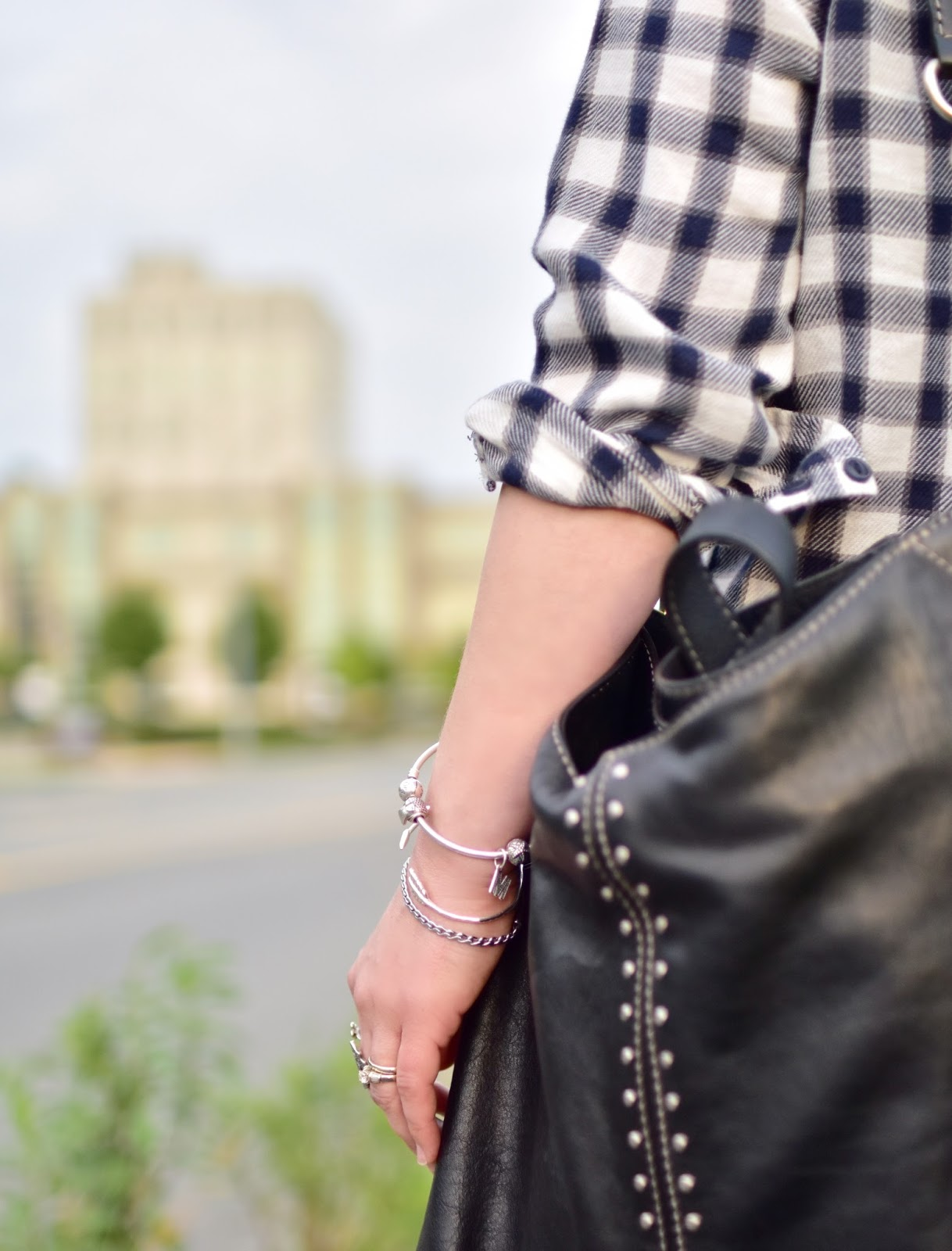 plaid flannel shirt, Michael Kors bag