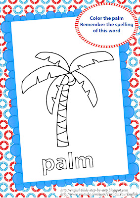 palm coloring page for teaching English