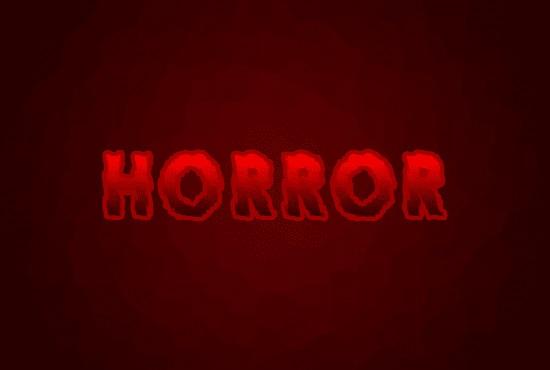 Efek teks horror setelah diberikan efek outer glow di Photoshop