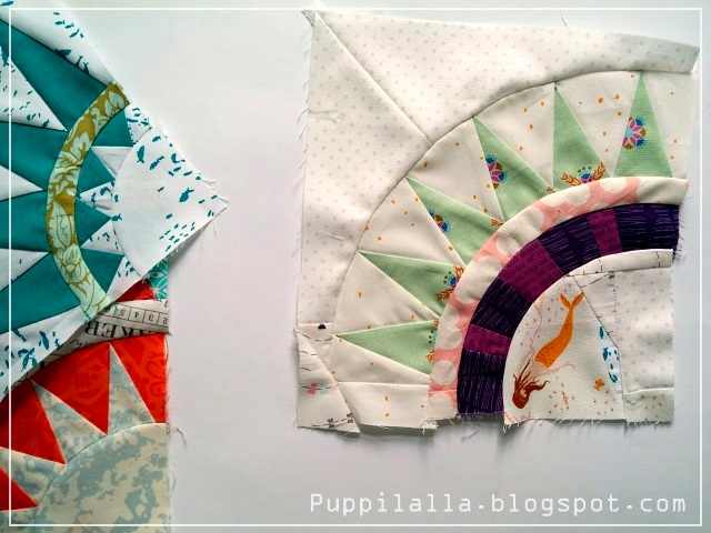 Puppilalla, round robin quilt, New York Beauty Block, BOM, Patchwork, Compass Rose block, wind rose, mariner's compass