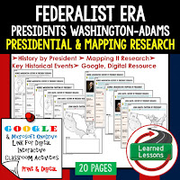 American History Presidential, Mapping Research (Print, Digital, Google) BUNDLE  COLONAIL AMERICA TO RECONSTRUCTION--> American History Research Graphic Organizers, American History Map Activities, American History Digital Interactive Notebook, American History Presidential Research, American History Summer School, Federalist Era