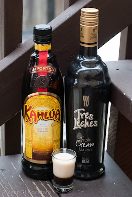 tres leches cocktail shot, tres leches liqueur, kahlua, coffee liqueur, layered shot