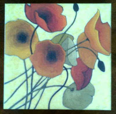 Spectacular Set of Wall Art Decor featuring Poppies on canvas