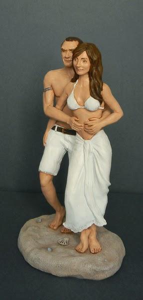 statuette realistiche cake topper nozze mare spiaggia orme magiche