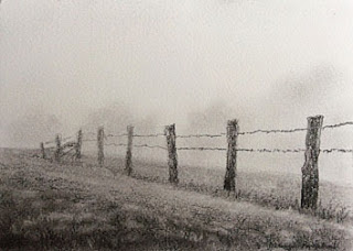 A charcoal sketching of a foggy day by Manju Panchal