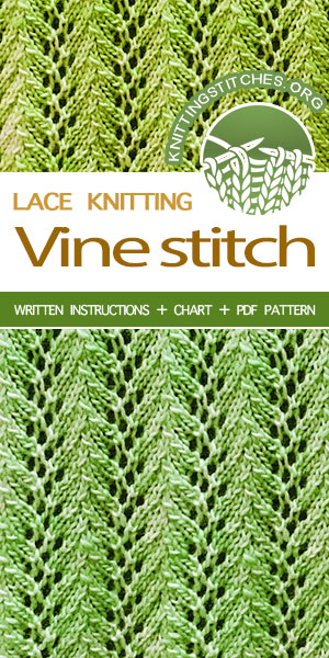 #KnittingStitches -- Free Knitting, Knit Zig Zag Stitch. Simple, but beautiful lace pattern. Easy to memorize, too .#knit #knittingpattern