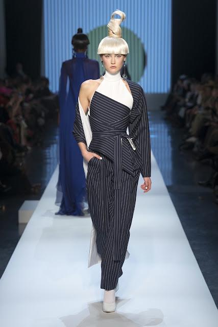 Jean Paul Gaultier Spring 2018 - Model Van von Bürhen -pinstripe