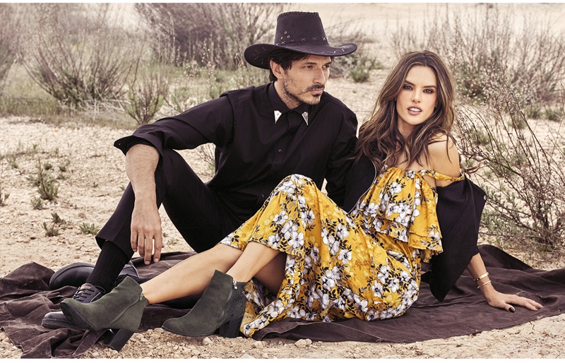 Andres Velencoso and Alessandra Ambrosio front XTI Shoes fall-winter 2018 campaign