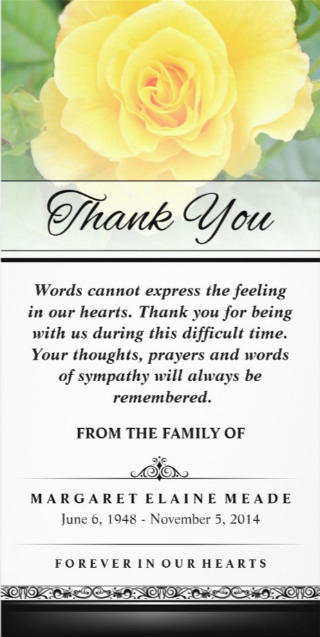 beautiful yellow rose 4x8 vertical sympathy thank you card