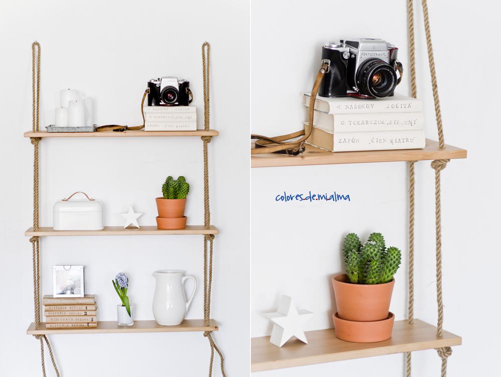 półka na linach, hanging shelves