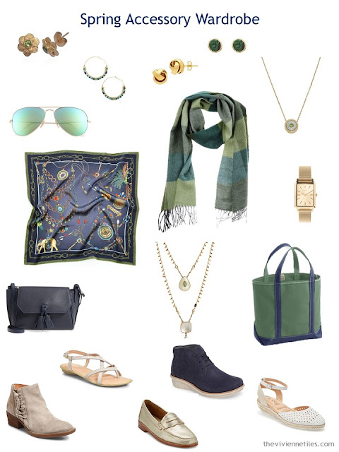 Spring accessory wardrobe in navy and beige with green accents