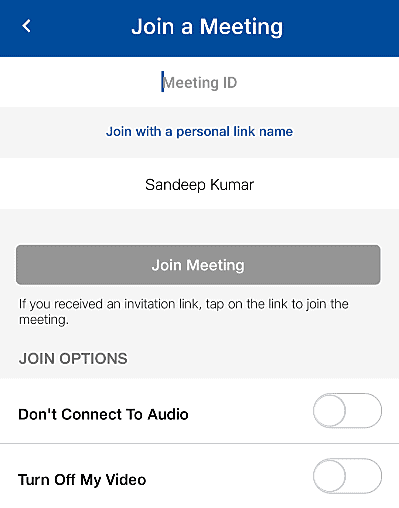 Jio Meet App Join a Video Group after Signin
