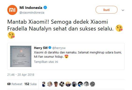 Akun twitter xiaomi indonesia yang mengomentari nama bayi unik