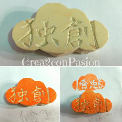 Carvado-sello-de-caucho-con-gubias-kanji-chino-en-nube-creativo-original-Crea2-con-Pasión-sello-prueba-error
