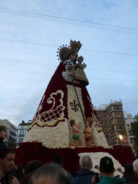 Virgin Mary crafted from flowers during Ofrenda de Las Flores in Valencia, Spain