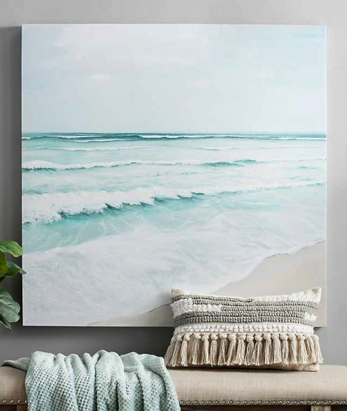Ocean Sea Waves Large Canvas Art Square