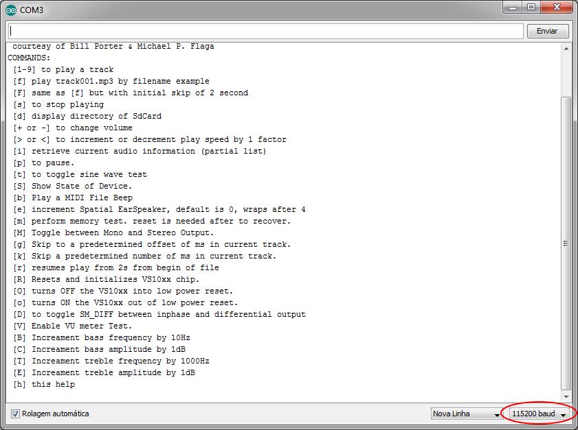 Shield MP3 Player - Comandos Serial Monitor