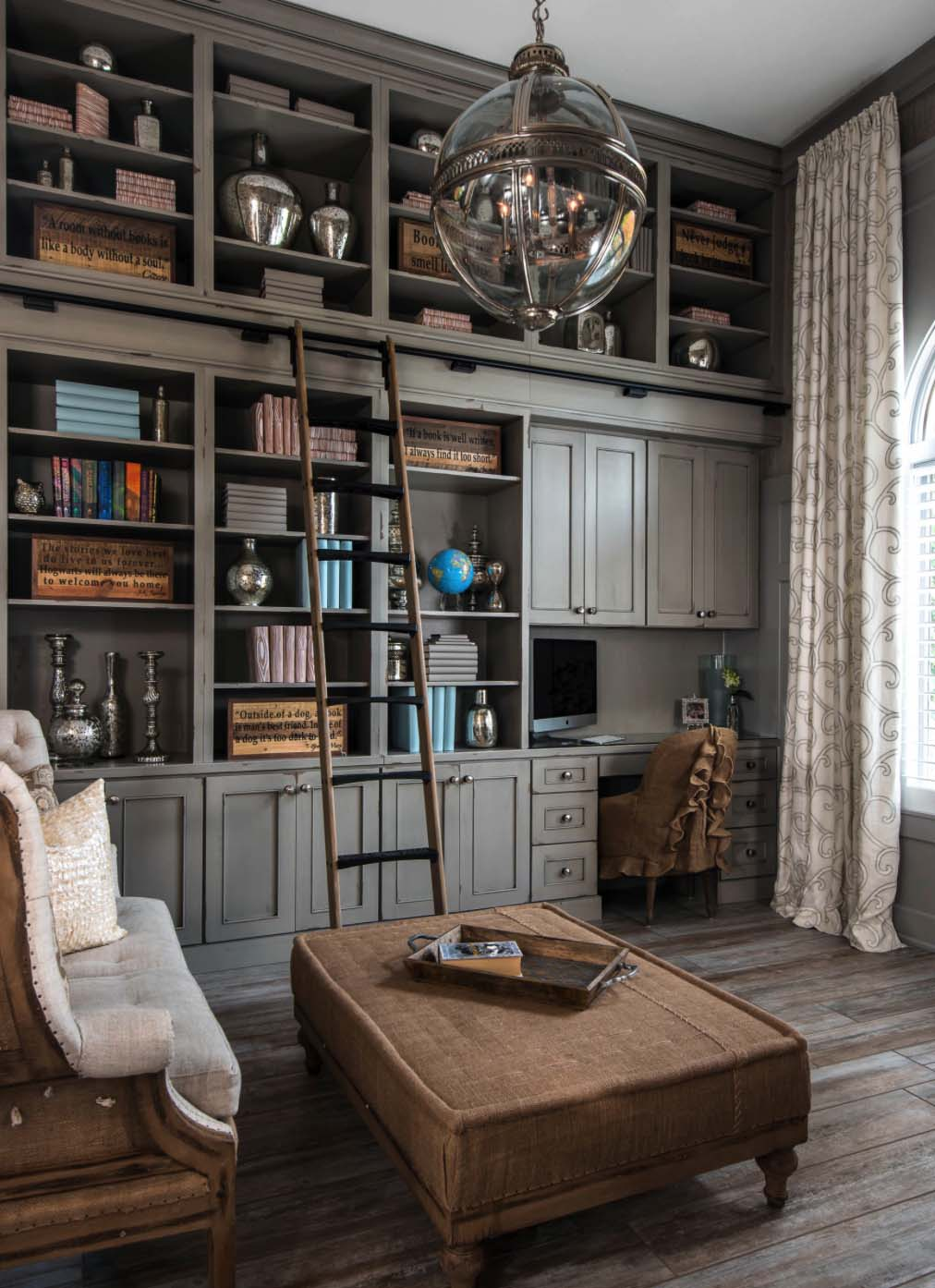 Gi Room Design: Home Office Com Biblioteca