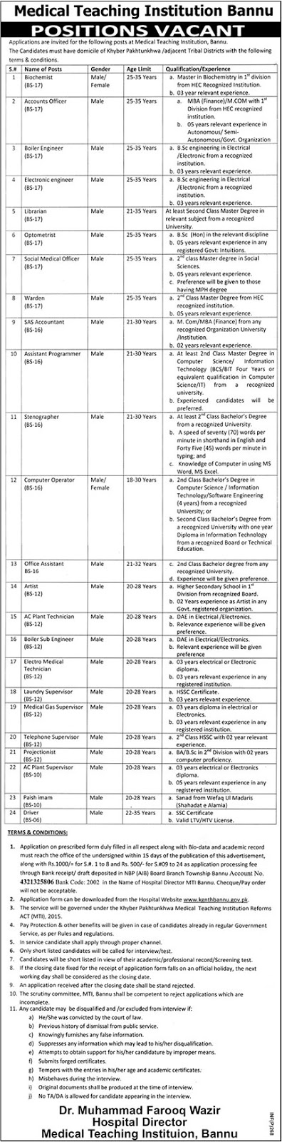 Jobs Vacancies Announces In Medical Teaching Institute Bannu At 18 January 2019
