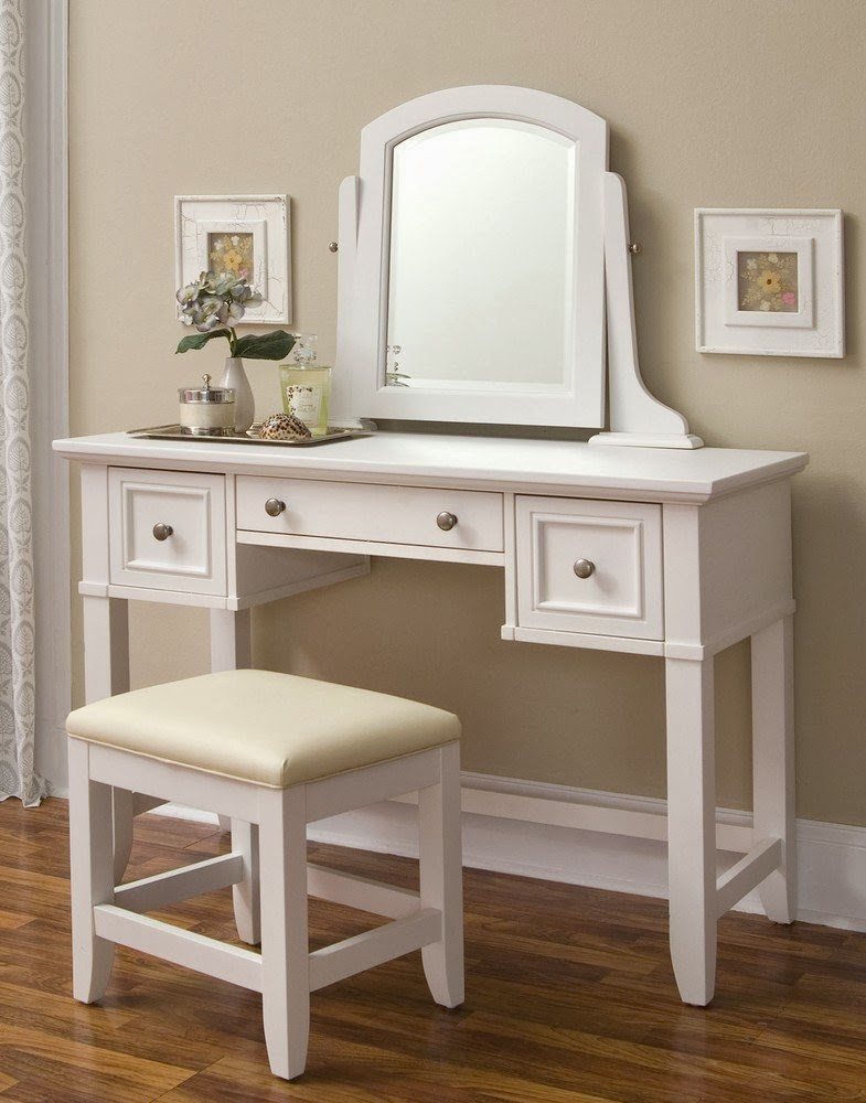Home Styles Naples White Finish Desk Vanity Combo