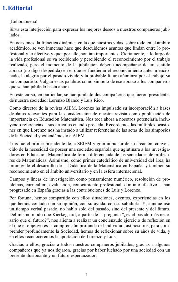 Boletín nº 40 de la Sociedad Española de Investigación en educación Matemática SEIEM