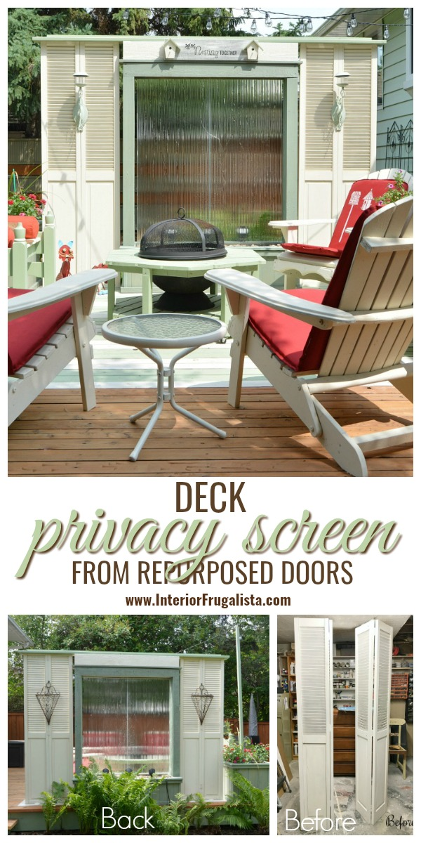 A budget-friendly Deck Privacy Screen idea made with repurposed wooden louvered bifold doors where you can see out but the neighbors can't see in! #outdoorprivacyscreen #deckprivacyscreen #deckprivacywall