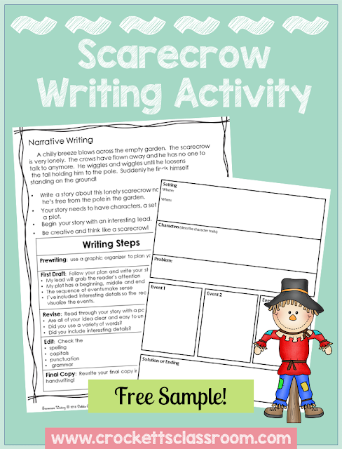 Freebie, Scarecrow writing activity.  Student write a narrative story about a lonely scarecrow.  Directions, scoring guide and planning sheet are included.