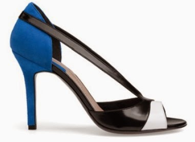 Blue, Black and White Open Toe Heels