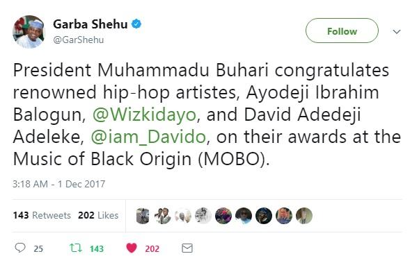 Buhari Congratulates Wizkid, Davido On Their Awards At MOBO 2017
