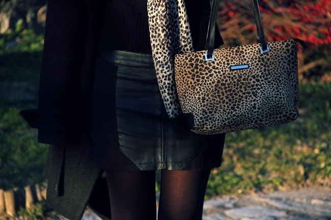 leopard print bag and leopard print scarf
