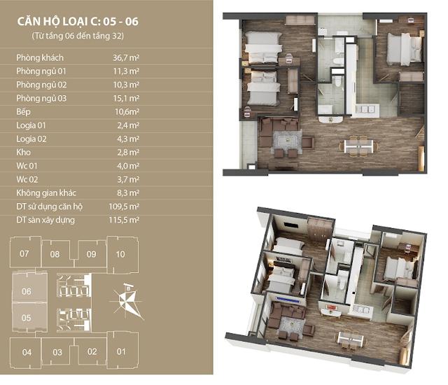 Thiết kế căn hộ 05 - 06 dự án Phú Mỹ Complex Ngoại Giao Đoàn