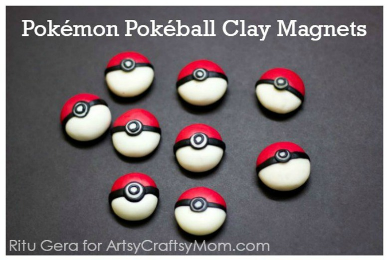 pokeball clay magnets - Pokemon crafts for kids