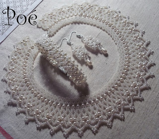 Белоснежный комплект из бисера и жемчуга