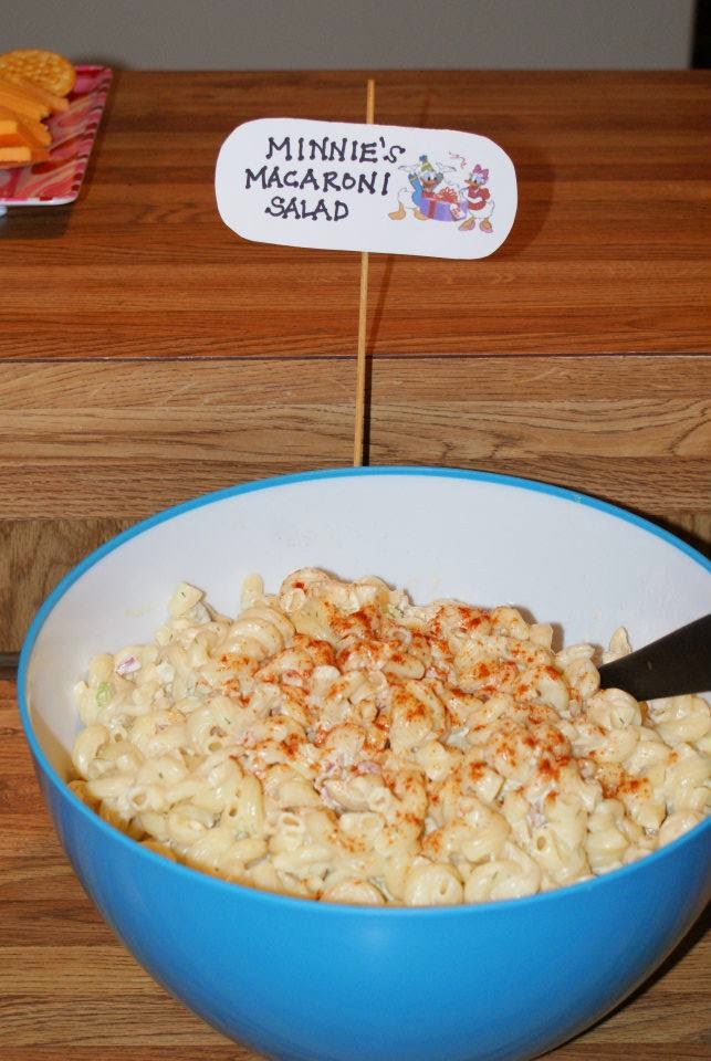Minnie's Macaroni Salad for a Mickey Mouse themed birthday party!