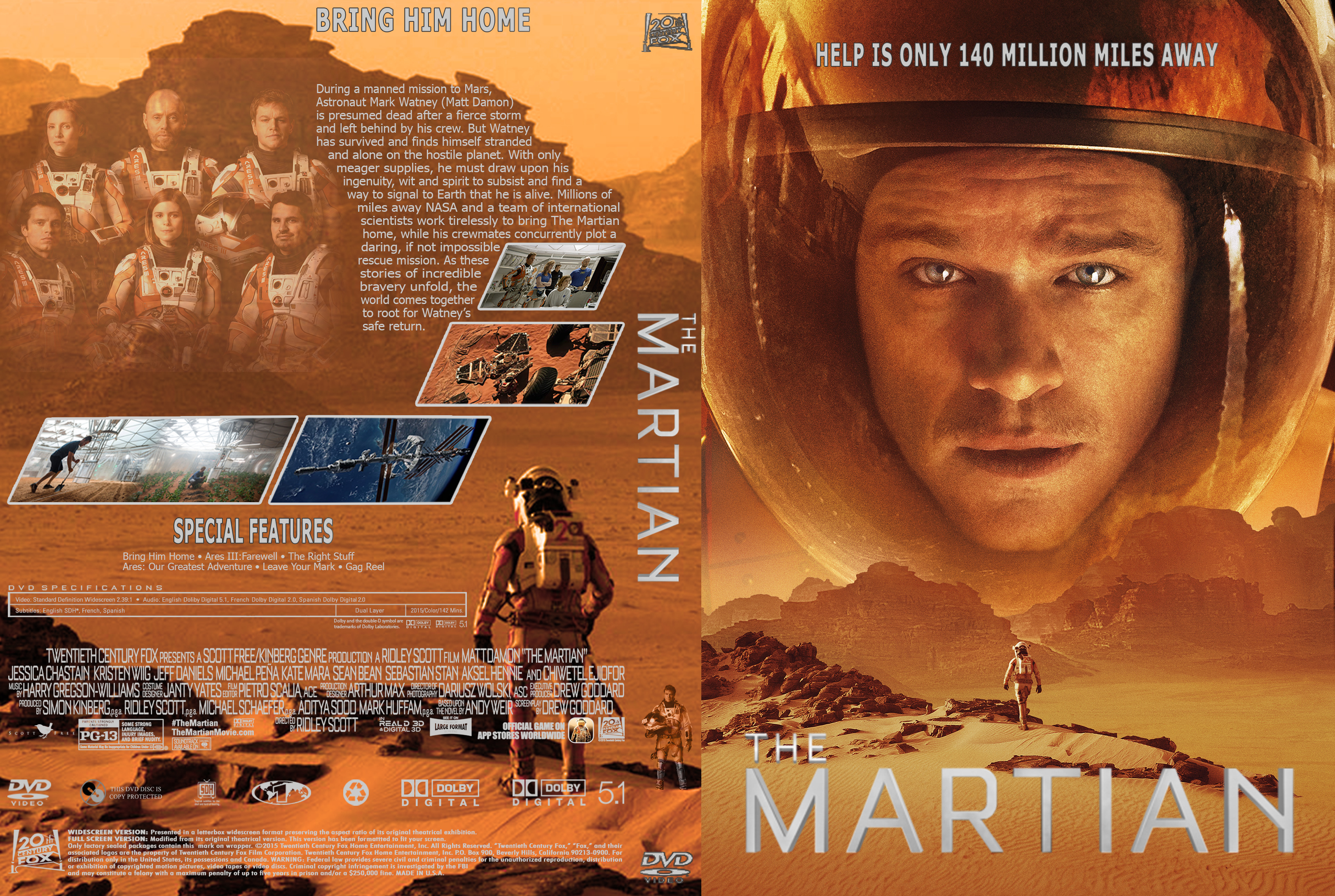 The Martian DVD Cover Cover Addict DVD Bluray Covers