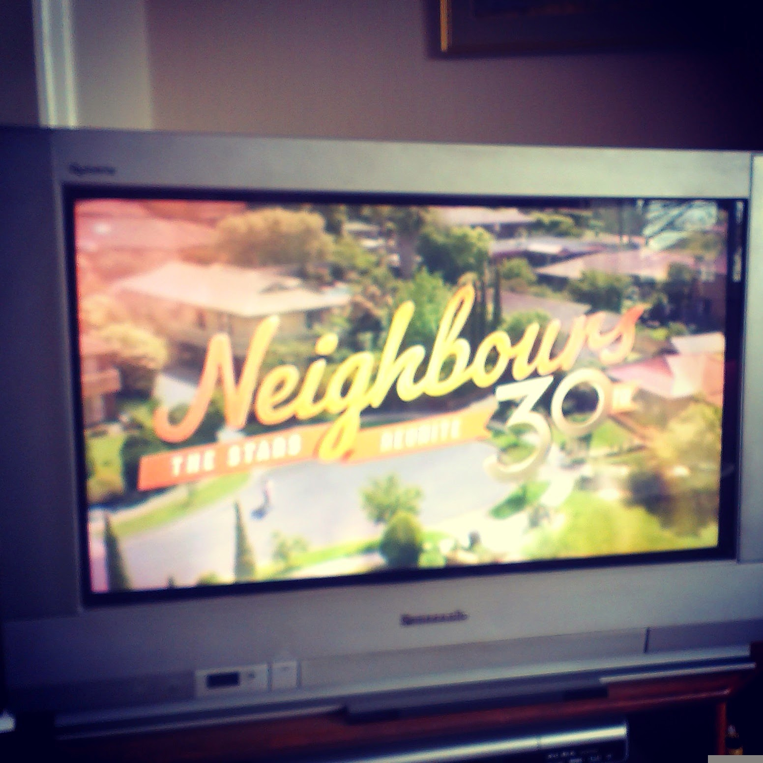 12pm - watching the Neighbours 30th reunion programme