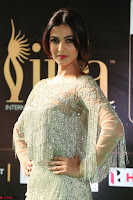 Sonal Chauhan in a stonework Floor Length Silver Designer Gown at IIFA Utsavam Awards March 2017 019.JPG