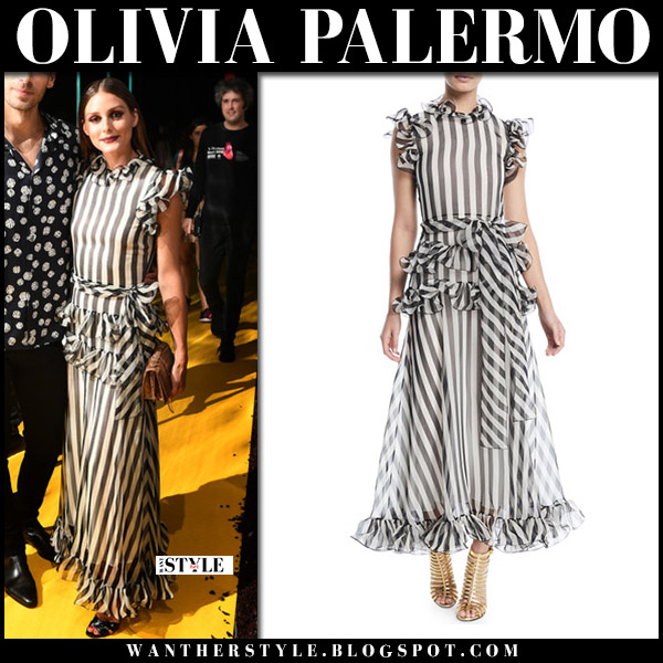 Olivia Palermo in striped black and white ruffled frilled maxi dress valentino style fashion september 4