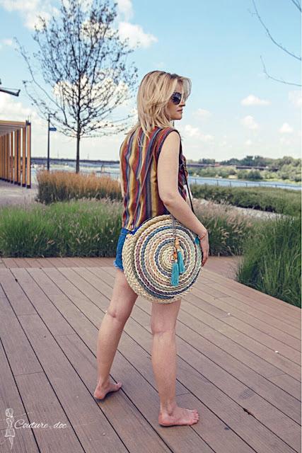 handmade, torba, koszyk, pleciona, okrągła, kolory