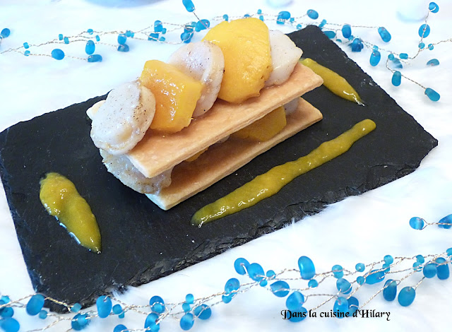 Millefeuille de Saint-Jacques et mangue parfumées à la vanille