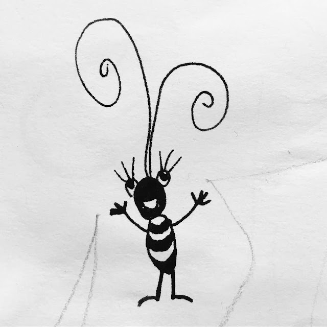 Ink sketch of a cute smiling bug with big antennae. By Boriana Giormova